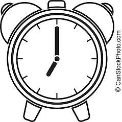 alarma, vector, ilustración, reloj