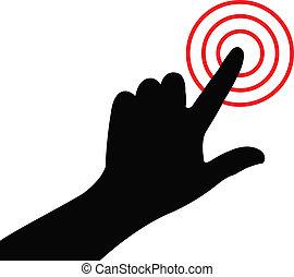 alarma, vector, planchado, mano, botón