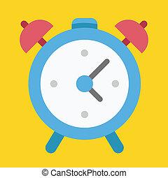 alarma, vector, reloj, icono