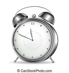 alarma, vector, reloj
