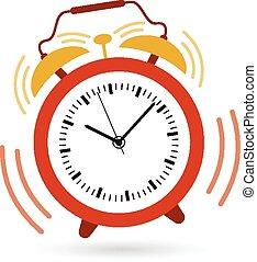 alarma, yendo, de, reloj