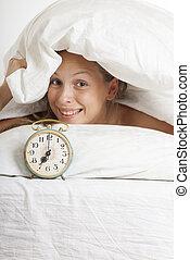 alarmclock, mulher, jovem, cama, manhã