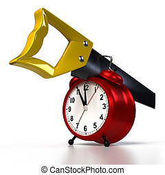 alarmclock, tło., odizolowany, hacksaw, przedstawienie, biały, 3d