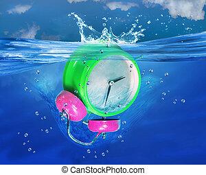 alarme, afundamento, relógio