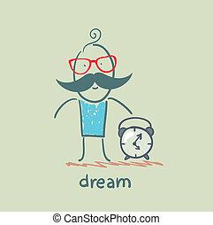 alarme, após, sono, homem, relógio