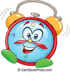 alarme, caricatura, relógio