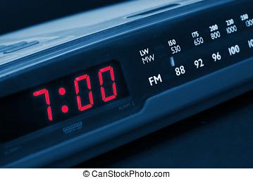 alarme, cima, clock., rádio, tempo, acordar