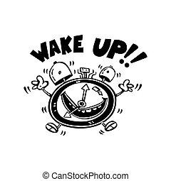alarme, cima, ilustração, vetorial, acordar, caricatura
