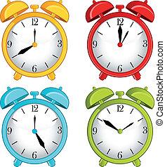alarme, clássicas, fundo, relógio