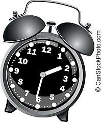 alarme, clássicas, pretas, relógio