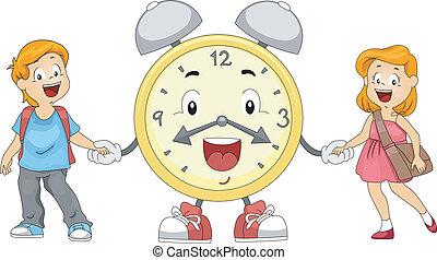 alarme, crianças, relógio