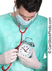 alarme, doutor, auscultating, relógio