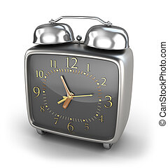 alarme, estilo, antigas, isolado, relógio