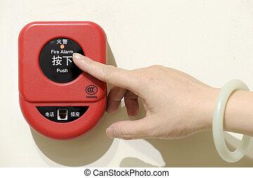 alarme fogo, isolado, fundo, imprensa, botão
