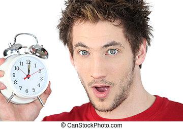 alarme, homem, chocado, relógio