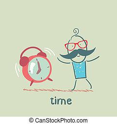 alarme, homem, tocando, relógio