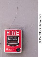 alarme-incendie, bâtiment.