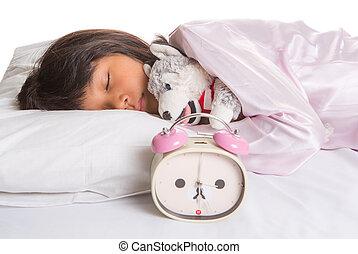 alarme, sono, menina jovem, relógio