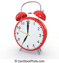 alarme, vermelho, isolado, fundo, relógio