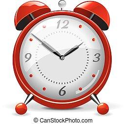 alarme, vetorial, vermelho, relógio