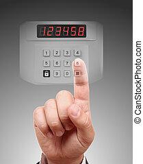 alarmer system, hånd, sæt, security til hjem