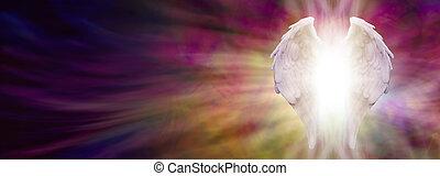 alas ángel, y, curación, luz
