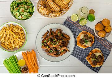 alas, banquete, -, francés, deportes, fríe, vegetal, pollo, ...