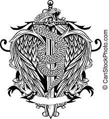 alas, espada, serpiente