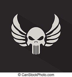 alas, vector, cráneo