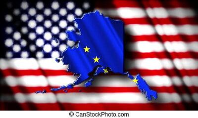 Alaska 03 - Flag of Alaska in the shape of Alaska state with...