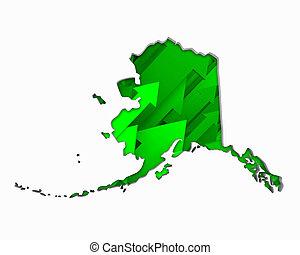 Alaska AK Arrows Map Growth Increase On Rise 3d Illustration