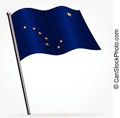 alaska ak flag flying on flagpole vector