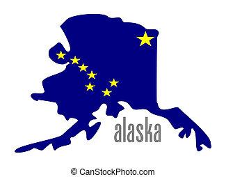 alaska - Alaska outline and state flag illustation