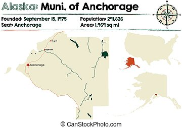 Alaska: Anchorage Municipality - Large and detailed map of...