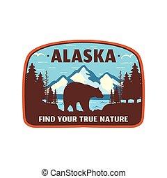 Alaska badge design. Mountain adventure patch. American...