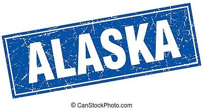 Alaska blue square grunge vintage isolated stamp