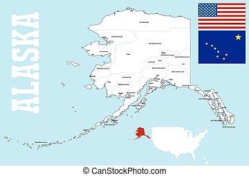 US State Alaska Political Map With Capital Juneau National Eps - Political map of alaska