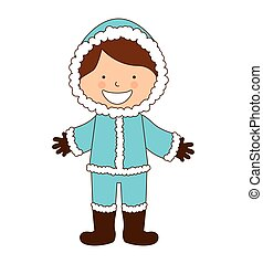 alaska boy character icon vector illustration design
