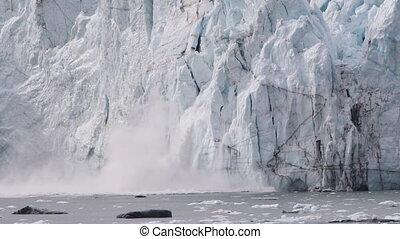 alaska, chauffage, concept, changement, global, glacier, calving, -, climat