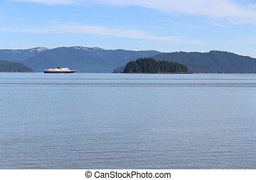 Alaska Ferry and Island Landscape