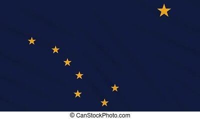 Alaska flag flutters in the wind, loop for background.