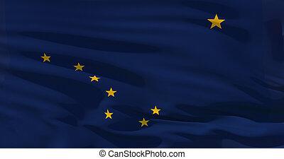 Alaska flag on silk texture, United States of America. High quality detailed 3d illustration