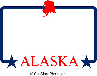 Alaska frame - Alaska state map, frame, and name.