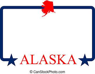 Alaska frame - Alaska state map, frame, and name.