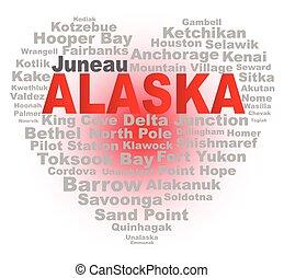 Alaska Heart - A cartoon heart shape with the text ALASKA...