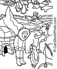 Alaska Line Art - cartoon of child visiting Alaska.