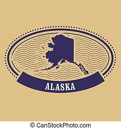 Alaska map silhouette - oval stamp
