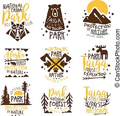 Alaska National Park Promo Signs Series Of Colorful Vector ...