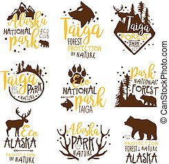 Alaska National Park Promo Signs Series Of Colorful Vector Design Templates With Wilderness Elements Silhouettes. Natural Protected Forest Park Labels In Flat Bright Illustrations With Text.