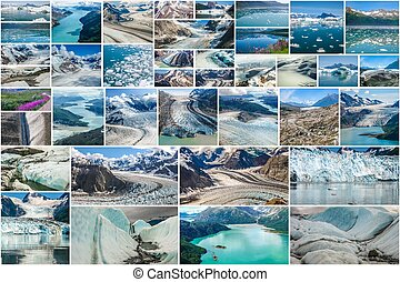 Glaciers picture collage of different famous National Parks of Alaska including Denali, Wrangell St. Elias, Kenai Fjords, Matanuska Glacier and Glacier Bay, United States.